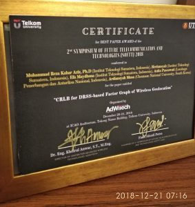 Best Paper Award pada Makalah Kolaborasi Teknik Elektro ITERA dengan LAPAN dan CNU Korea Selatan pada 2nd Symposium of Future Telecommunication and Technologies (SOFTT) 2018